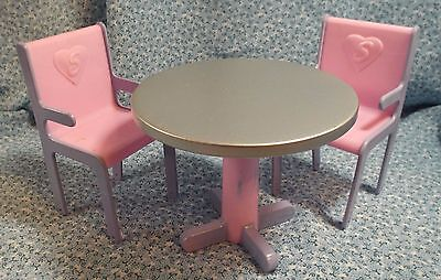 Sindy Doll Round Pedestal Table and Two Chairs Silver Pink and Purple