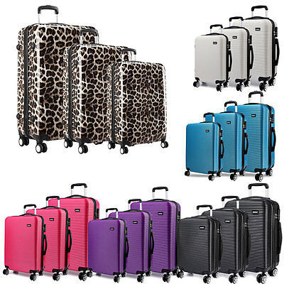 Hard shell 4 Wheel Spinner Luggage Leopard Light weight Suitcase 20''/24''/28''