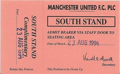 Unused Guest Of Player Ticket-Manchester United Reserves V Aston Villa Reserves