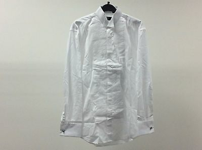 Mens White Wing Pleated Tuxedo Formal Dinner Dress Shirt Size 14 1/2 - 2A187