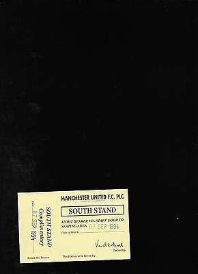 Unused Guest Of Player Ticket-Manchester United Reserves V Liverpool Reserves