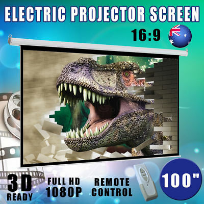 """100"""" Electric Motorized Projector Screen HD TV Wall Projection Home Theatre New"""