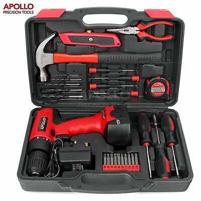 Household Tool Kit With Drill Home Repair Set Sturdy Storage Box DIY 26pcs New