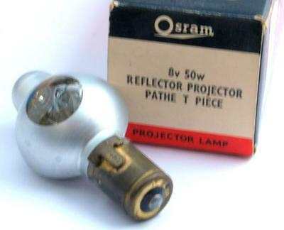 Osram Pathe T Piece Projector Lamp/Bulb 8v 50W Reflector New Old Stock