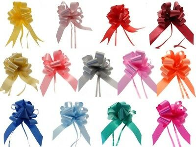 20 X Plain Poly Satin Pull Bows (50Mm) Choice Of 15 Colours  Floristry Weddings