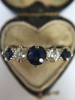 Antique Victorian 18ct Yellow Gold Sapphire And Diamond Five Stone Ring Large