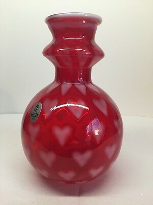 Fenton Art Glass Ruby Red Opalescent Heart Optic Vase LIMITED