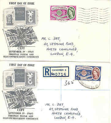 1960 Europa Post and Telecomms Conf. pair of illustrated fdcs Chingford cancel