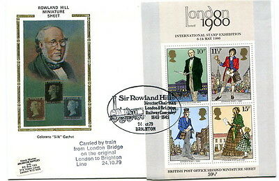 1979 Rowland Hill MS Colorano silk CARRIED fdc Brighton special handstamp cancel