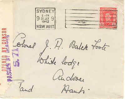 Australia 1942 2½d. surface mail cover to England, Passed by Censor S.71