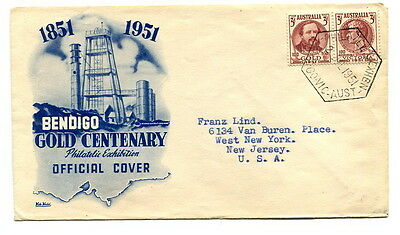 """Australia 1951 """"Gold Centenary"""" pair on illustrated first day cover to U.S.A."""