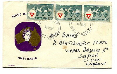 Australia 1955 World Centenary Y.M.C.A. illustrated first day cover to UK