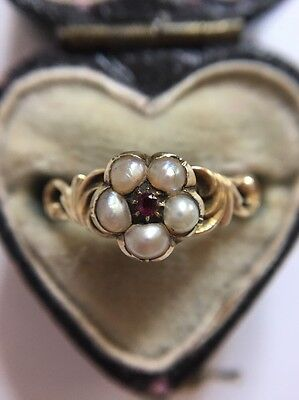 Antique Victorian Ruby Pearl Yellow Gold  Ornate Detail Ring Cluster Locket Back