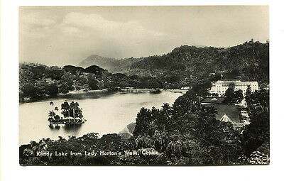 "Ceylon early 20th C unused photo Post Card ""Kandy Lake from Horton's Walk"""