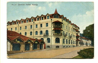 "Ceylon early 20th. Century unused colour Post Card ""No. 22 Queens Hotel, Kandy"""
