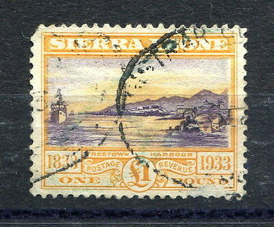 Sierra Leone 1933 Wilberforce £1 high value SG180 fiscally used, faults