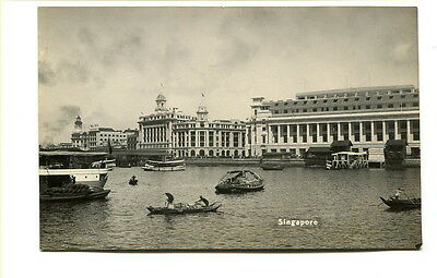 """Singapore early 20th C. unused photo Post Card """"Singapore"""" Harbour View #1"""