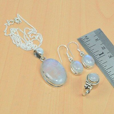 Wholesale 3Pc 925 Solid Sterling Silver Natural White Rainbow Moon Stone Mix Lot