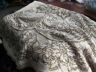 lovely vintage round cream lace tablecloth with brown edging to lace