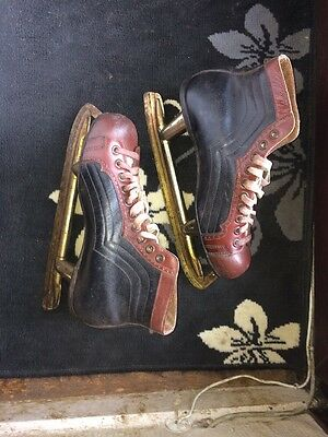 VINTAGE ICE SKATES UK8. PROFESSIONAL Leather Fagan MADE SHOES Rare