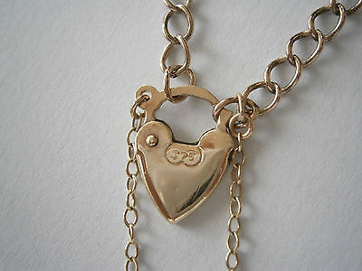 Hallmarked 375 Yellow Gold Heart Padlock Bracelet with Safety Chain