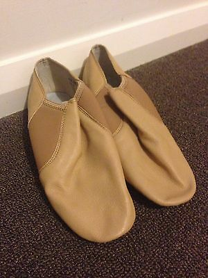 New Adult Tan Leather Split Sole Jazz Shoes, Size 6