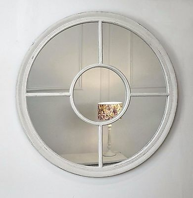 "Rennes White Shabby Chic Round Window Wall Mirror 36"" x 36"" V Large"