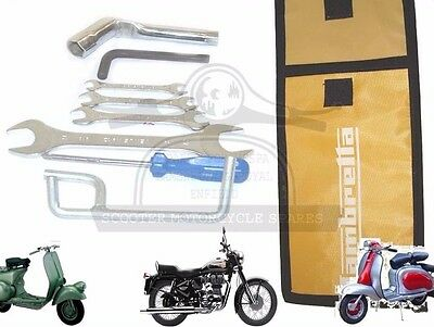 LAMBRETTA HAND TOOL KIT 7 PIECE &YELLOW WOVEN POUCH JACK, SPANNERS SET ETC. @AEs