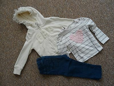 3 piece girls Gap outfit 18 - 24 months, hoodie, long sleeve top and jeans