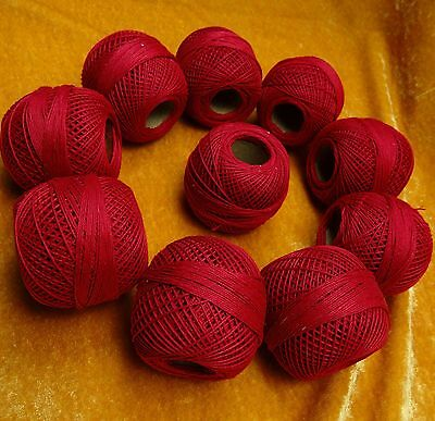 10 Pcs Red Mercerized Cotton Crochet Thread Yarn Knitting Embroidery Craft Skein