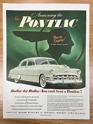 RARE 1950 PONTIAC 'Dollar For Dollar Series' Large Colour Vintage Car Advert L2