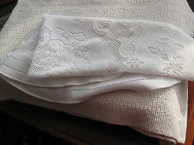 Lovely vintage/retro white lace round tablecloth