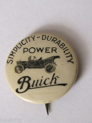 Original Early Buick Car Advertising Celluloid Pin Simplicity Durability Power