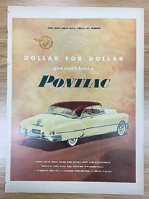 RARE 1950 PONTIAC 'Dollar For Dollar Series' Large Colour Vintage Car Advert L6