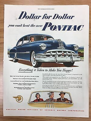 RARE 1950 PONTIAC 'Dollar For Dollar Series' Large Colour Vintage Car Advert L9