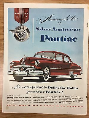 RARE 1951 PONTIAC 'Dollar For Dollar Series' Large Colour Vintage Car Advert L14