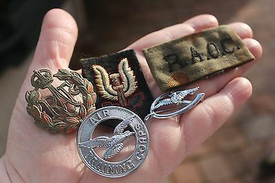 Job Lot Wwii Cloth Badges Raf Sweetheart Brooch Training Corps Cap Badge S.a.s