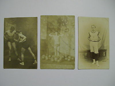 Postcard x 3. Boxing / Wrestling / Weight lifting. Early 20th Century.