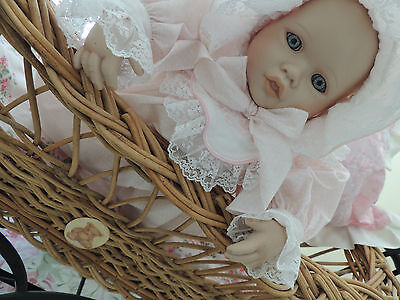 Cane Dolls Pram made in Australia in natural Cane Strong for play or display