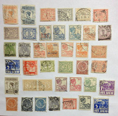 Netherland Indies 40 stamps including pair and overprints.
