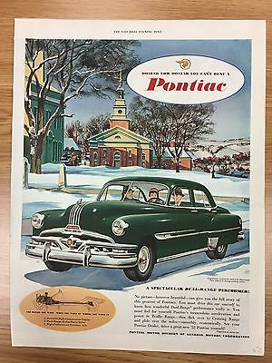 RARE 1952 PONTIAC 'Dollar For Dollar Series' Large Colour Vintage Car Advert L16