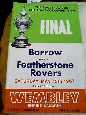Rugby league challenge cup final programme 1967 Barrow v Festherstone