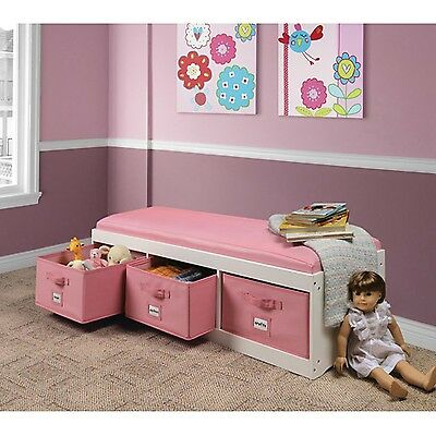 Kids Storage Bench Organizer 3 Bins Girls Room Padded, White/Pink