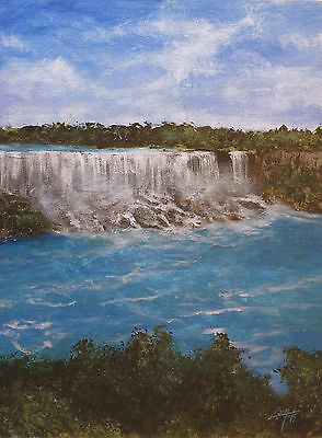 "Original Acrylic Painting, ""Niagara Falls"", Landscape, Signed by Zan Savage"