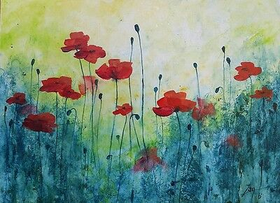 "Original Acrylic Painting, ""Poppy Field"", Floral, Signed by Zan Savage"