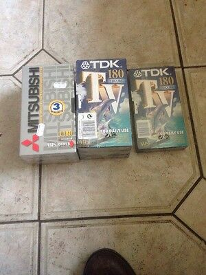 Lot Of 7 Sealed E180 3 Hour Vhs Video Cassette Tapes Tdk And Mitsubishi