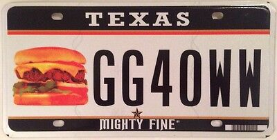 Texas Mighty Fine HAMBURGER license plate Fast Food Steak Sandwich Barbecue Meat