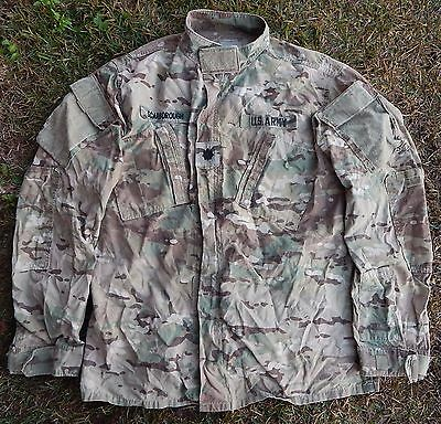 US ARMY Multicam Camo Combat Shirt Coat FR/Insect LARGE X-Long Major Insignia