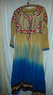 Lovely Vintage Retro ? Asian Wedding ? Dress Sand Chiffony Embroider Sequins 40