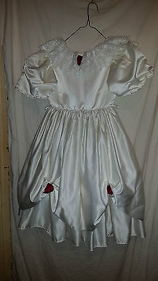 Childs Vintage Retro ? Bridesmaid/party Dress Ivory/red Roses Netted Under 30Che